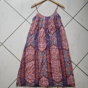Lucky 💜 Boho Batik Maxi Dress Shift Lined Pink
